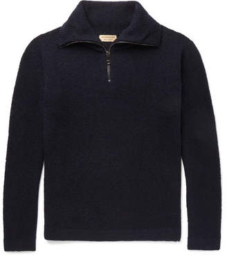 Burberry Cashmere-Blend Half-Zip Sweater - Navy