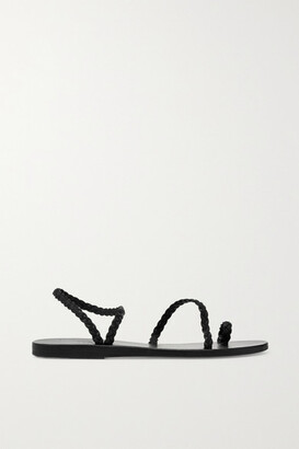 Ancient Greek Sandals - Eleftheria Braided Leather Sandals - Black $250 thestylecure.com