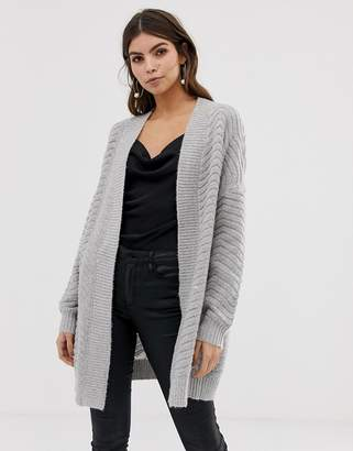 Y.A.S chunky cable cardigan in gray