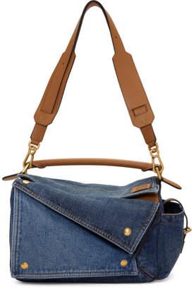 Loewe Tan and Blue Medium Denim Puzzle Pockets Bag