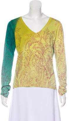 Etro Printed V-Neck Sweater