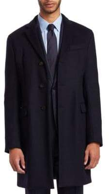 Emporio Armani Men's Wool Cashmere Top Coat - Navy - Size 50 R