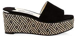 Jimmy Choo Women's DeeDee Suede Woven Cork Wedge Slides Sandals