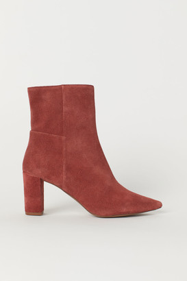 H&M Block-heeled Ankle Boots - Orange