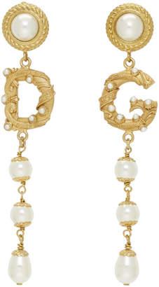 Dolce & Gabbana Gold Pearl Drop Earrings