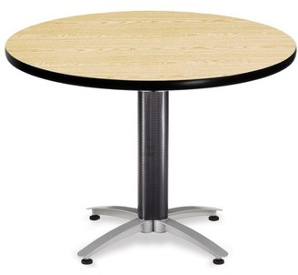 """OFM Model MT42RD 42"""" Multi-Purpose Round Table with Metal Mesh Base, Oak"""