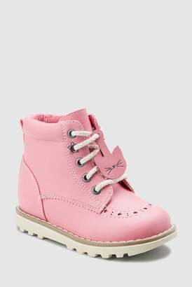 Next Girls Pink Lace-Up Boots (Younger)
