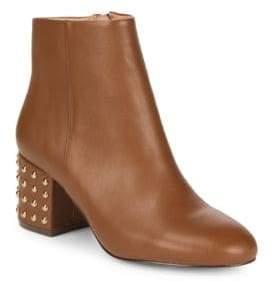 Studded Block-Heel Leather Booties