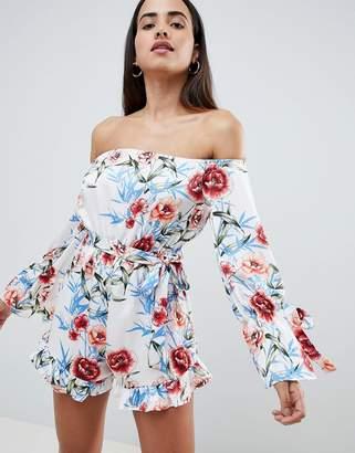 PrettyLittleThing Floral Bardot Romper