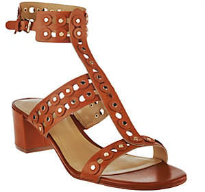 Marc Fisher Leather T-strap Block Heel Sandals- Johnay