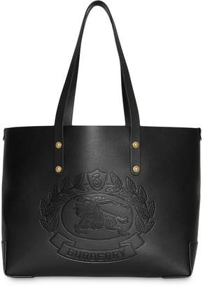 Burberry Small Embossed Crest Leather Tote