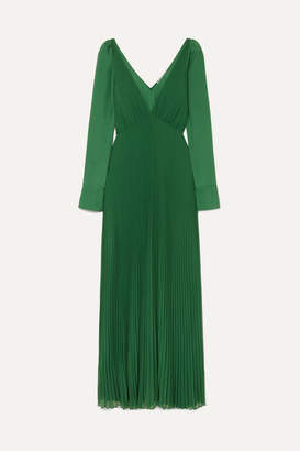 Self-Portrait Pleated Chiffon Gown - Green
