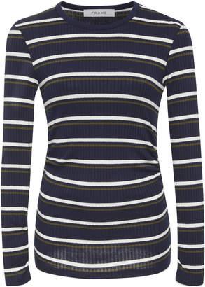 Frame Striped Rib-Knit Long Sleeve Top