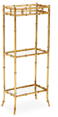 One Kings Lane 3-Tier Bamboo-Style Side Table - Gold