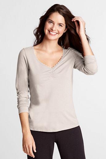 Lands' End Women's Regular Long Sleeve Lightweight Cotton Modal Lace Top