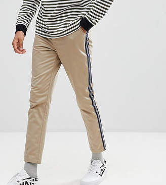Asos Design DESIGN Tall Tapered Cropped Heavyweight Pants with Side Stripe In Stone