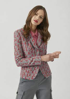 Emporio Armani Patterned Jacquard Jacket With Duchesse Lapels