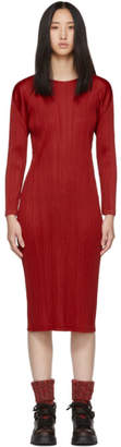 Pleats Please Issey Miyake Red Pleated Dress