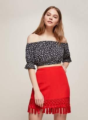 Miss Selfridge Red tassel mini bodycon skirt