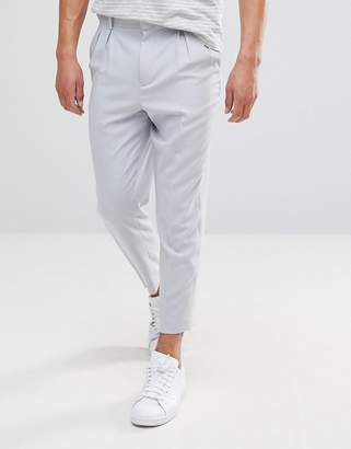 Asos Tapered Smart Pants With Double Pleats In Ice Grey