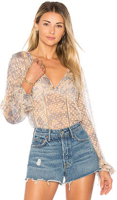 House of Harlow 1960 x REVOLVE Ivy Blouse in Blue $188 thestylecure.com