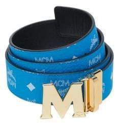 MCM Men's Visetos Reversible Belt - Blue
