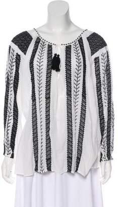 Nili Lotan Embroidered Long Sleeve Top