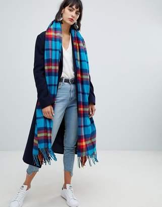 Asos Design DESIGN oversized square scarf in bright blue check