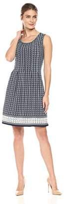 Lark & Ro Women's Sleeveless Jersey Pleated Dress