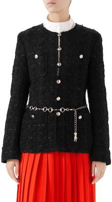 Gucci Belted Tweed Jacket