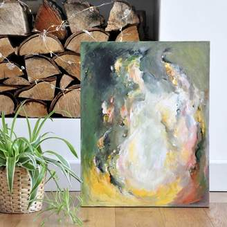 Paint-Me-Happy Art 'Coffee By The Fire' Original Abstract Painting Earthy
