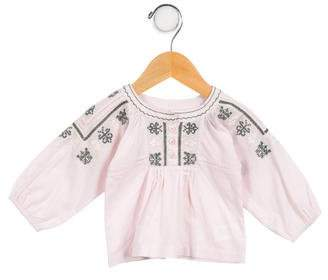 Marie Chantal Girls' Embroidered Long Sleeve Top