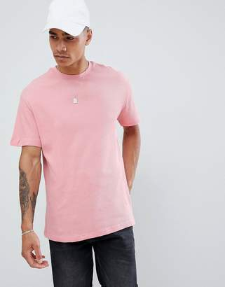 Pull&Bear t-shirt in pink with waffle texture