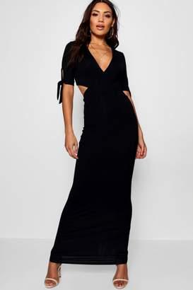 boohoo Carmen Wrap Front Tie Sleeve Maxi Dress