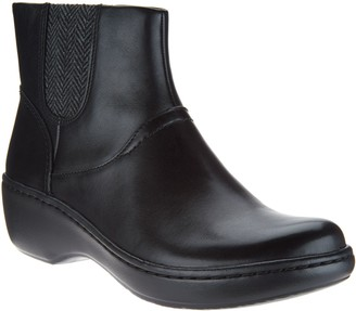 Clarks Leather Lightweight Ankle Boots w/ Knit Panels - Delana Joleen