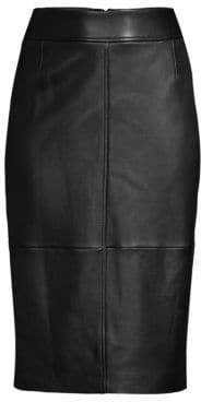 BOSS Selrita Leather Pencil Skirt