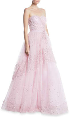 Pamella Roland Strapless Sequin-Embroidered Tulle Ball Gown