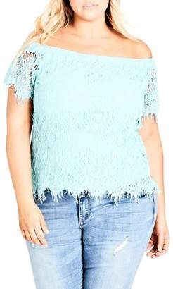 City Chic Lacy Off the Shoulder Top