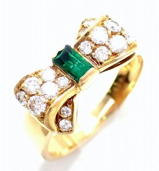 Van Cleef & ArpelsVan Cleef & Arpels 750 Yellow Gold Emerald Diamond Alice Ring Size 4.5