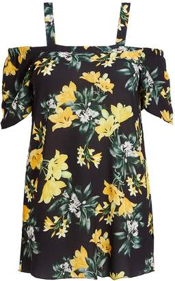 Quiz Curve Black And Yellow Floral Cold Shoulder Tunic