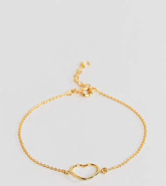 Asos Gold Plated Sterling Silver Open Heart Chain Bracelet