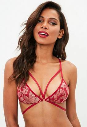 Missguided Metallic Lace Triangle Harness Bra