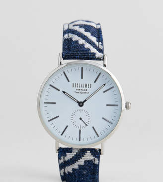 Reclaimed Vintage Inspired Geo-Tribal Print Strap Watch In Blue Exclusive To ASOS