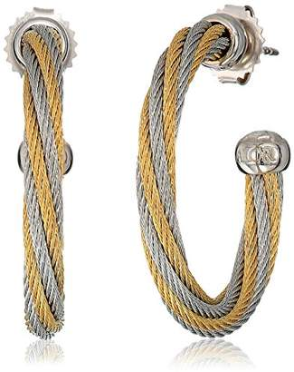 Alor Women's Grey And Yellow Cable Swirl Hoop