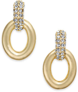 """Charter Club Small Gold-Tone Pave Link Drop Earrings, .8"""""""