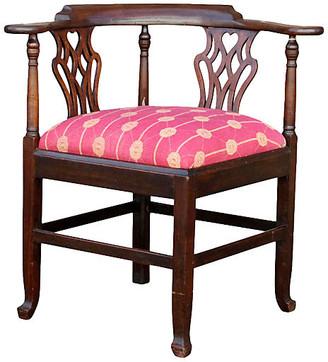 ... One Kings Lane Vintage English Chippendale Corner Kantha Chair   De Cor