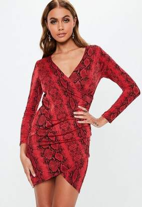 Missguided Red Snake Print Slinky Wrap Mini Dress
