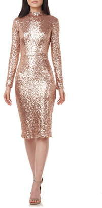 Theia LOVE BY Sequin Mock Neck Long Sleeve Cocktail Dress