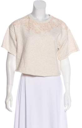 3.1 Phillip Lim Lace-Accented Short Sleeve Sweatshirt