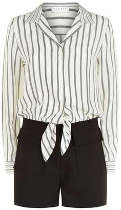 Sandro Striped Shirt Playsuit